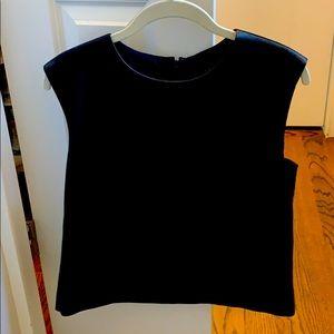 Tibi black leather sleeveless top size 10
